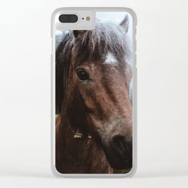 Brown Pony with a Cute Face Clear iPhone Case