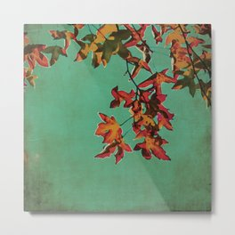 Vintage Shabby Autumn in New York Watercolor Metal Print