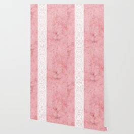 Delicate White Stripe Butterfly Pattern Pink Texure Design Wallpaper