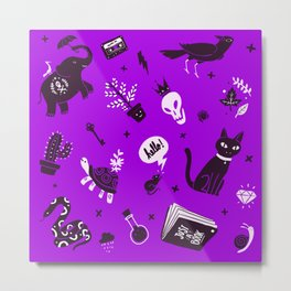 A cat, a skull and other stuff Metal Print