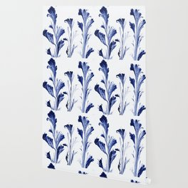 Painted Flowers In Blue Wallpaper