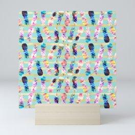 watercolor and nebula pineapples stripes design Mini Art Print