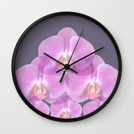 PINK ORCHIDS & GREY FLORAL ABSTRACT ART Wall Clock