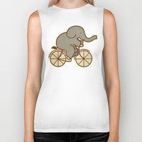 cycle Biker Tanks featuring Elephant Cycle by Terry Fan