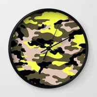 camouflage Wall Clocks featuring camouflage by RIZA PEKER
