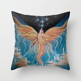 Ascension // Visionary Art Phoenix Spirit Soul Consciousness Spiritual Chakra Awakening Lightworker Throw Pillow