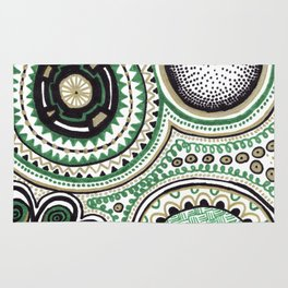 Green and Gold Rings Rug