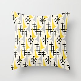 Mid Century Modern Atomic Wing Composition Yellow & Grey Throw Pillow