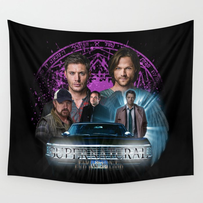 Supernatural Family dont end with Blood 2 Wall Tapestry