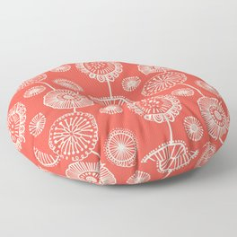 Doodle Floral in Red Floor Pillow