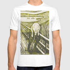 The Scream's Haze (yellow) MEDIUM Mens Fitted Tee White