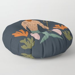 Hipster Mermaid Merman With Tattoos Poseidon King Of The Sea Midcentury Modern Cool Magical Mystical Abstract Art Bohemian Boho Style Trendy  Floor Pillow