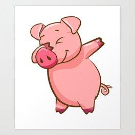 Dabbing Pig Piglet Piggy Pig Lover Art Print