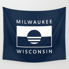 Milwaukee Wisconsin - Navy - People's Flag of Milwaukee Wall Tapestry