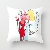 lesbian Throw Pillows featuring Angel/devil lesbian kiss by Nehalennia