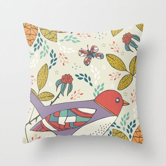 Bird and Butterfly  Throw Pillow