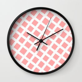 Coral Pink & White Diagonal Grid Pattern - Black & Pink - Mix & Match with Simplicity of Life Wall Clock