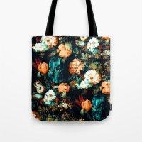 vintage floral Tote Bags featuring Vintage Floral by Burcu Korkmazyurek