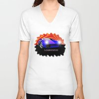 lamborghini V-neck T-shirts featuring Lamborghini Gallardo (2) by JT Digital Art