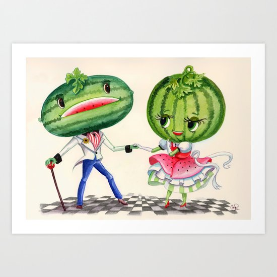 Kitschy Cute Watermelon Couple Art Print