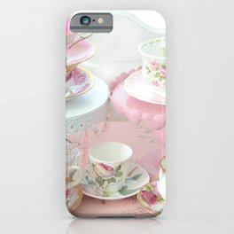 Shabby Chic Teacups Pink White Cottage Kitchen Decor iPhone Case