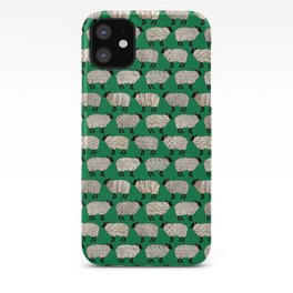 Wee Wooly Sheep in Aran Sweaters (shamrock green) iPhone Case