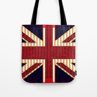 british flag Tote Bags featuring BRITISH FLAG by shannon's art space
