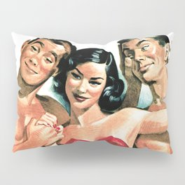 Vintage Illustration of Men and Women in Bathing Suits Pillow Sham