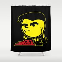 pac man Shower Curtains featuring Pac-Man by La Manette