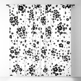 Minute Details Black and White Artistic Wild Ditsy Flowers Pattern Blackout Curtain