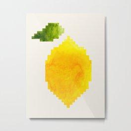 Geometric Watercolor Yellow Lemon Pixel Art Green Leaf Hard Edge Art Aztec Pattern Minimalist Mid Ce Metal Print