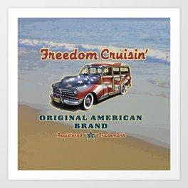 Freedom Crusin' Hawaiian Woody Design Art Print