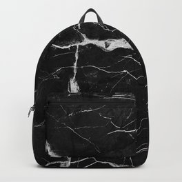Black Suede Marble With White Lightning Veins Backpack