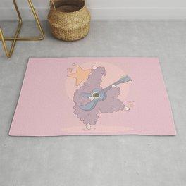 Cute little alpaca with blue ukulele Rug