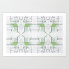 Circuit board green repeat Art Print