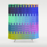 fabric Shower Curtains featuring Blocky Fabric by writingoverashes
