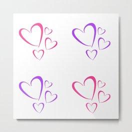 Little Hearts Multicolor Pattern Simple Design  Metal Print