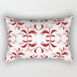 Floral Print Modern Pattern in Red and White Tones Rectangular Pillow