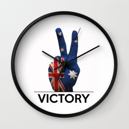 Hand making the V sign australia country flag painted Wall Clock