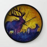elk Wall Clocks featuring Elk by Michelle Silsbee