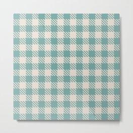 Plaid Pattern 513 Green and Beige Metal Print