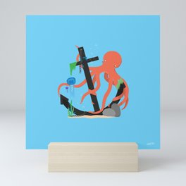 A lot of weight for eight shoulders Mini Art Print
