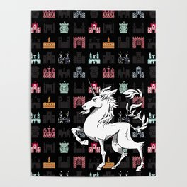 Unicorn on a field of castles Poster