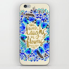 The Earth Laughs in Flowers – Gold & Blue iPhone Skin