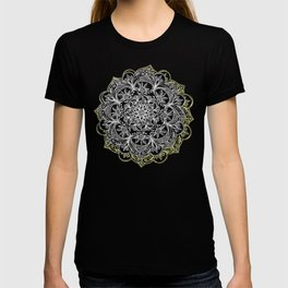 Yellow & White Mandalas on Grey T-shirt