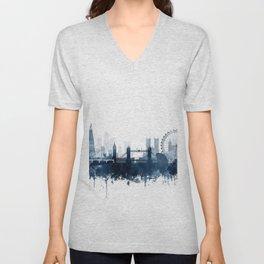 London City Skyline Blue Watercolor by zouzounioart Unisex V-Neck