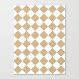 Large Diamonds - White and Tan Brown Canvas Print