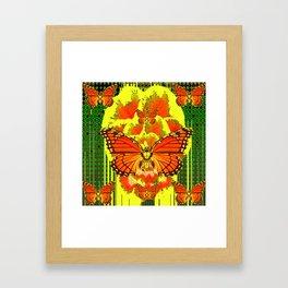 ABSTRACT ART DECO MONARCH BUTTERFLIES YELLOW-GREEN Framed Art Print