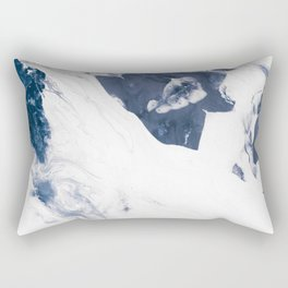 Navy Blue and White Abstract Painting Rectangular Pillow