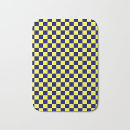 Electric Yellow and Navy Blue Checkerboard Bath Mat